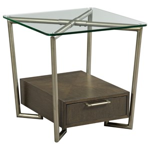 Contemporary Rectangular 1 Drawer End Table
