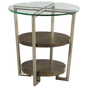 Contemporary Round Accent Table with Glass Top