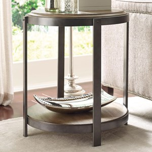 Contemporary Round Accent Table with Shelf