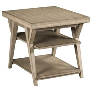 Transitional Rectangular End Table with Shelves