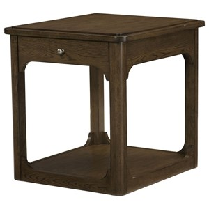 Rectangular Drawer End Table with Base Shelf