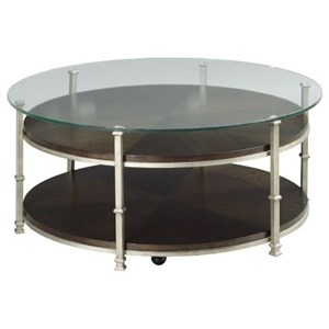 Industrial Round Cocktail Table with Casters