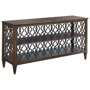 Transitional Rectangular Hall Console with Decorative Back Panel