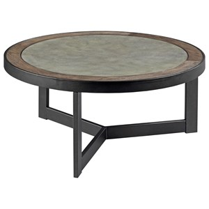 Industrial Round Cocktail Table with Concrete Inset
