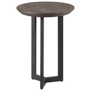 Industrial Round Chairside Table with Metal Base