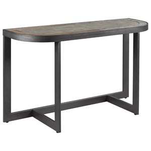 Industrial Sofa Table with Concrete Inset