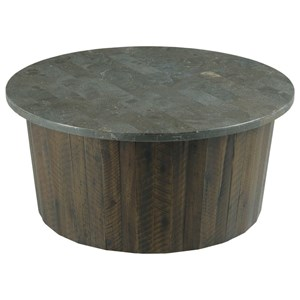Rustic Solid Wood Round Coffee Table with Bluestone Top