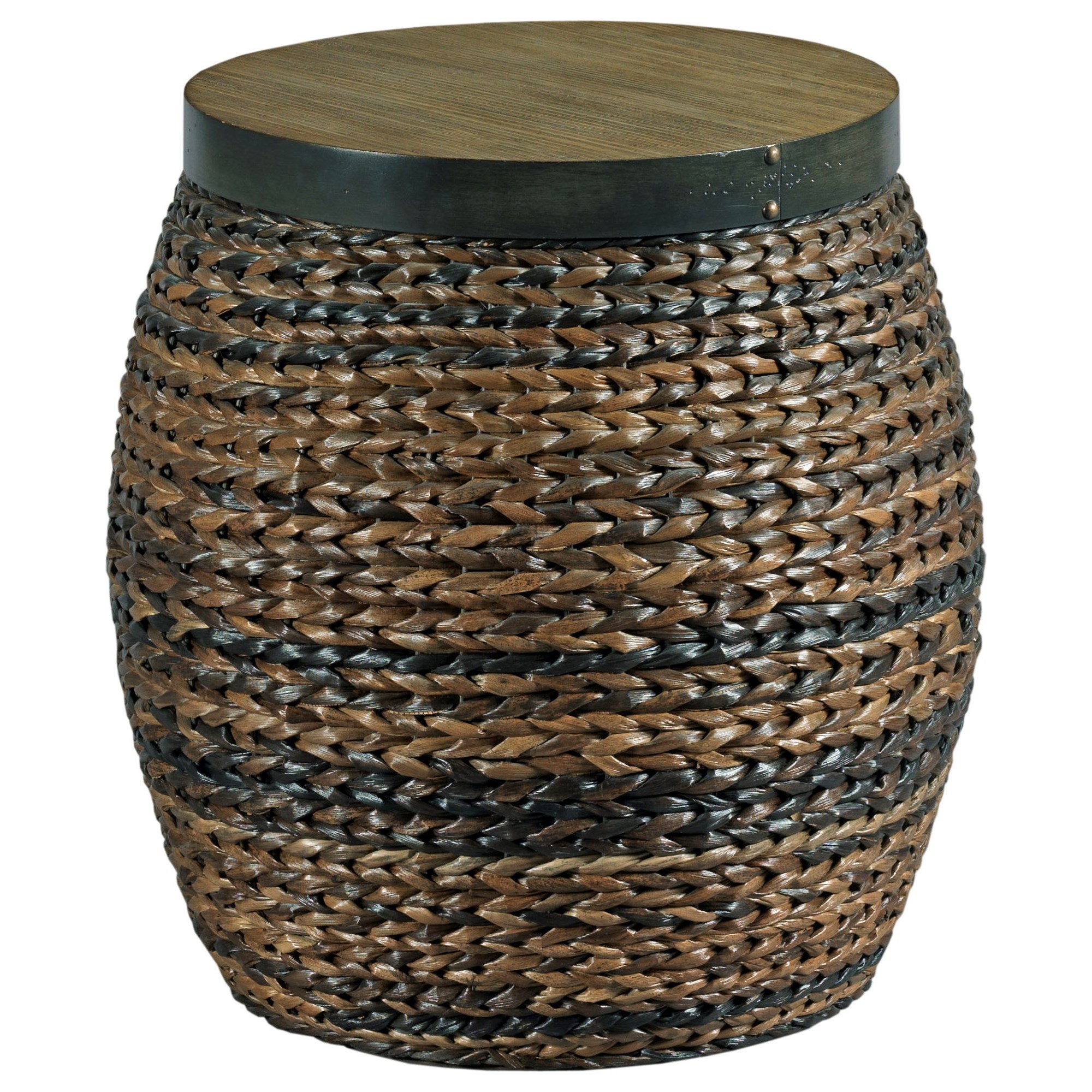 Hidden Treasures Round Accent Basket Table by Hammary at Johnny Janosik