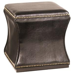 Black Storage Cube with Nailhead Trim