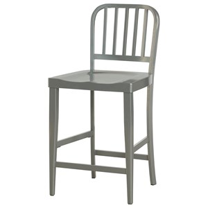 Industrial Metal Gray Counter Stool with Slat Back