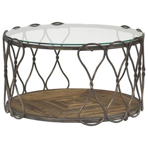 Round Cocktail Table with Tempered Glass Top