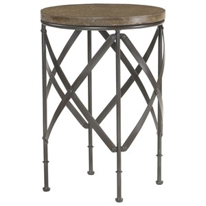 Transitional Round Metal Table with Concrete Top