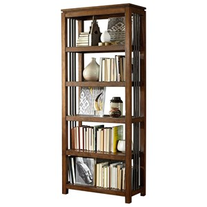 Five-Shelf Bookcase with Metal Side Accent Rods