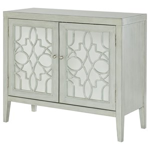 Glam Mirrored Door Cabinet with Fret Work