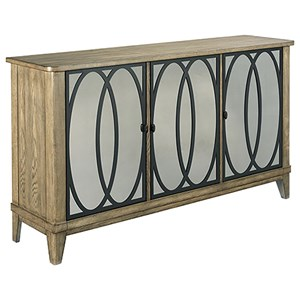 Transitional Entertainment Console with Antique Mirror Door Fronts