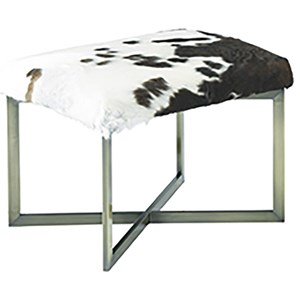 Rustic Hair on Hide Bench with Metal Base
