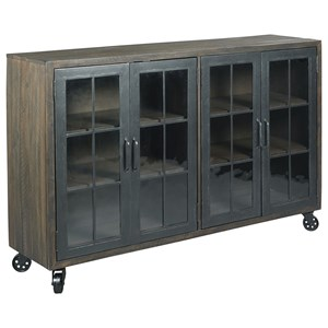 Rustic Trolley Door Cabinet with Wire Management