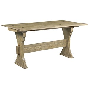 Rustic Trestle Flip Top Table with Distressed Finish