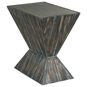 Industrial Angular Accent Table with Metal Top