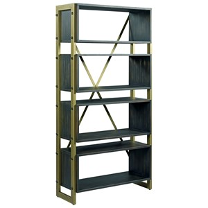Contemporary Bookcase with Bronze Metal Frame