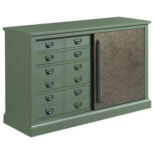 Rustic Sliding Door Console with Four Drawers