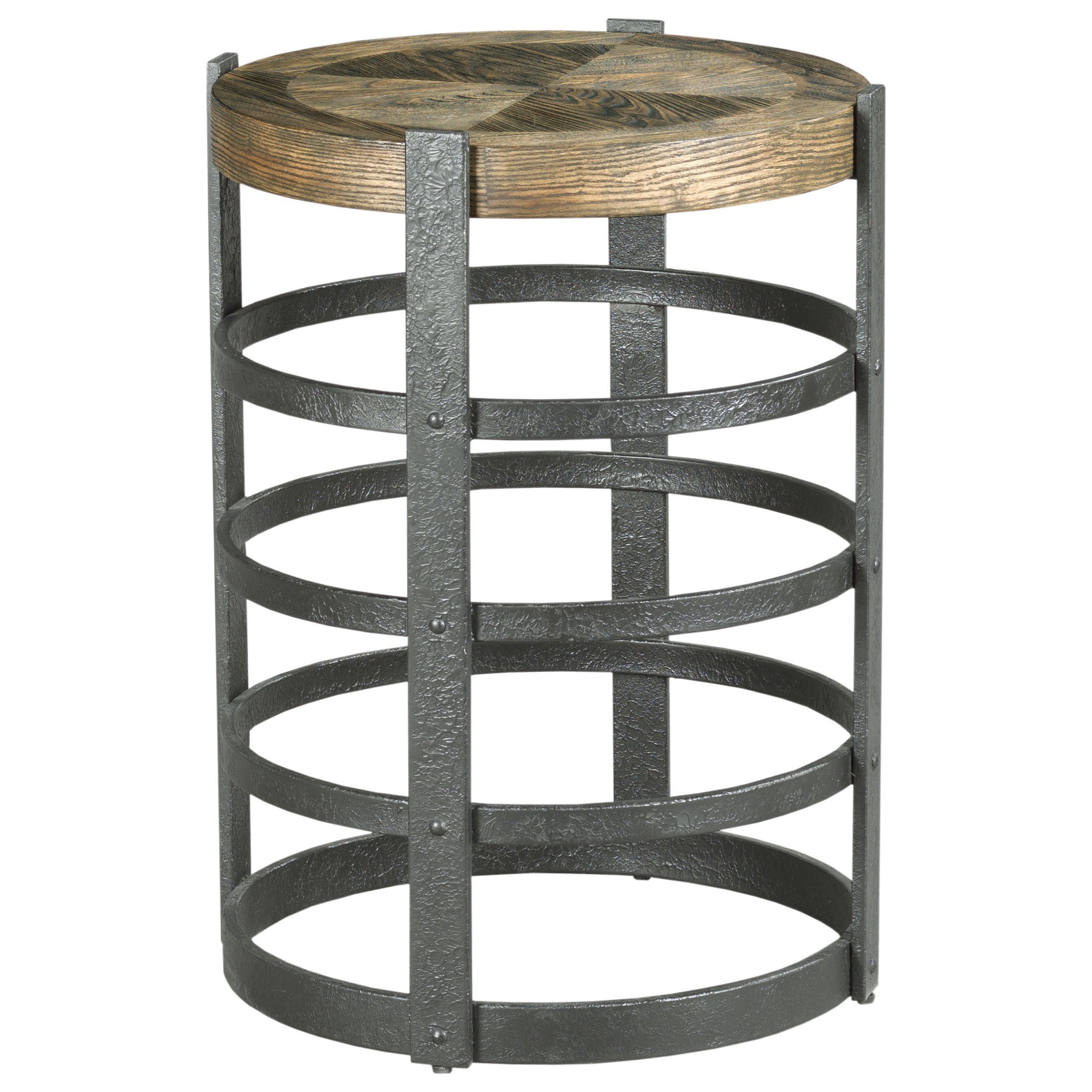 Hidden Treasures Barrel Strap End Table by Hammary at Jordan's Home Furnishings