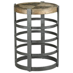 Industrial Barrel Strap End Table with Metal Base