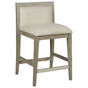 Transitional Counter Stool with Upholstered Low Back