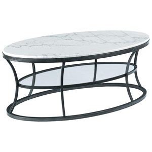 Oval Cocktail Table with Marble Top and Glass Shelf
