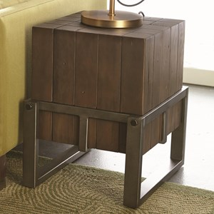 Industrial Accent Table with Wood Timbers