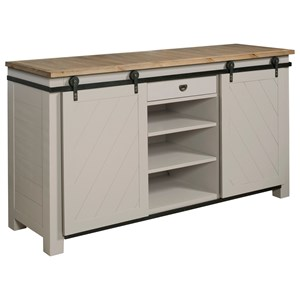 Shiplap Sliding Door Media Console with Adjustable Shelves