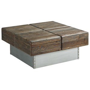 Block Cocktail Table with Two Drawers
