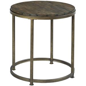 Round End Table with Antique Brass Base