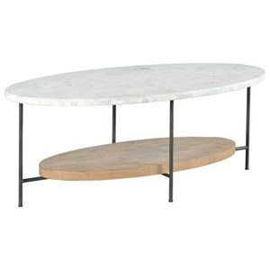 Industrial Oval Cocktail Table with Marble Top