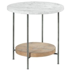 Industrial Round End Table with Marble Top