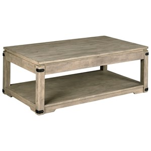 Rustic Rectangular Lift-Top Cocktail Table with Removable Casters