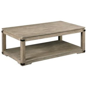 Rustic Rectangular Cocktail Table with Removable Casters