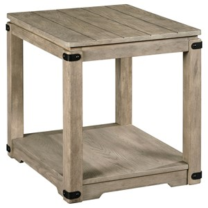 Rustic Rectangular End Table with Metal Accents