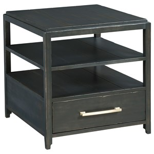 Transitional Rectangular Drawer End Table with Open Shelving