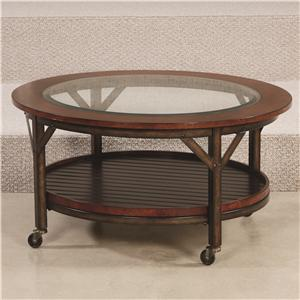 Round Cocktail Table with 1 Fixed Shelf