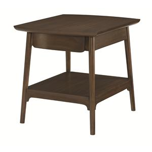 Rectangular End Table with 1 Drawer and 1 Shelf