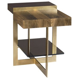 Winkler End Table with Tempered Bronze Glass Shelf