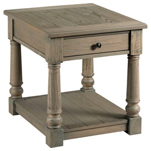 Transitional Rectangular Drawer End Table with Shelf