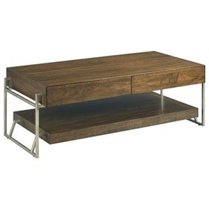 Industrial Rectangular Cocktail Table with Storage
