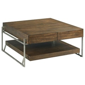 Industrial Square Cocktail Table with Storage