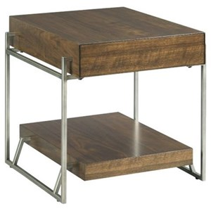 Industrial Rectangular Drawer End Table with Storage