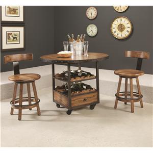 Hammary Americana Home 3 Piece Pub Table and Stool Set