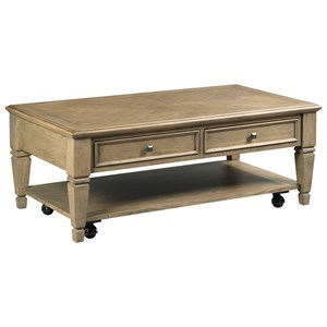 Transitional Rectangular Cocktail Table with Removable Casters