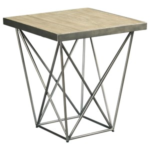 Contemporary Square End Table with Geometric Base