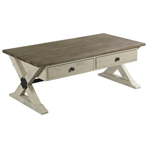 Trestle Rectangular Cocktail Table with 2 Drawers